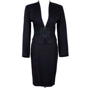 Valentino Black Wool Blazer Skirt Suit